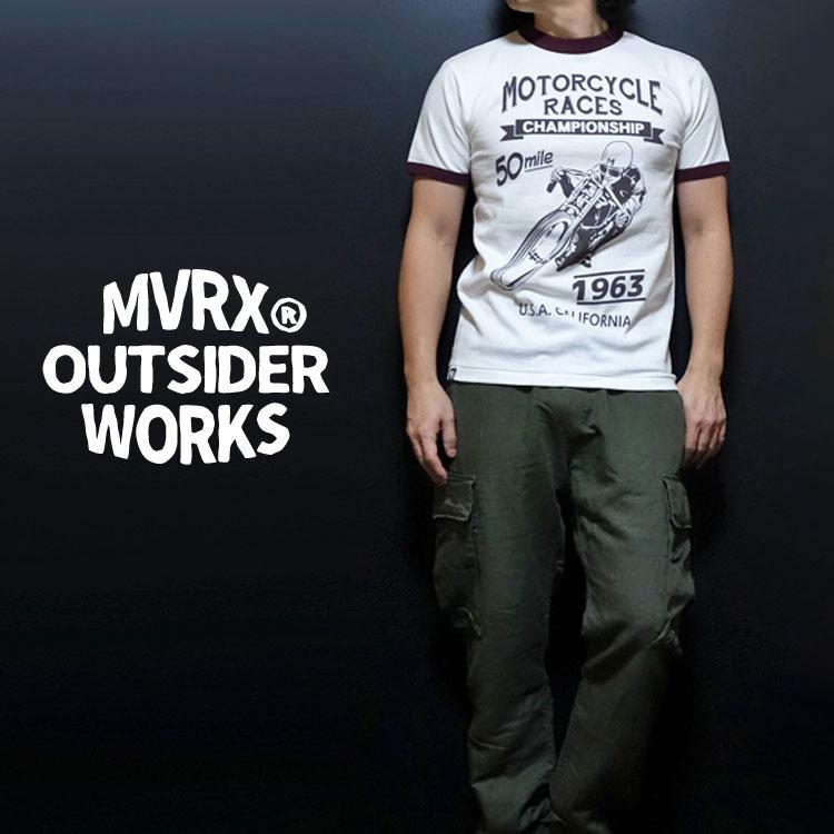 画像1: MVRX 半袖 リンガー Tシャツ MOTORCYCLE RACE モデル / 白 ホワイト バーガンディ (1)