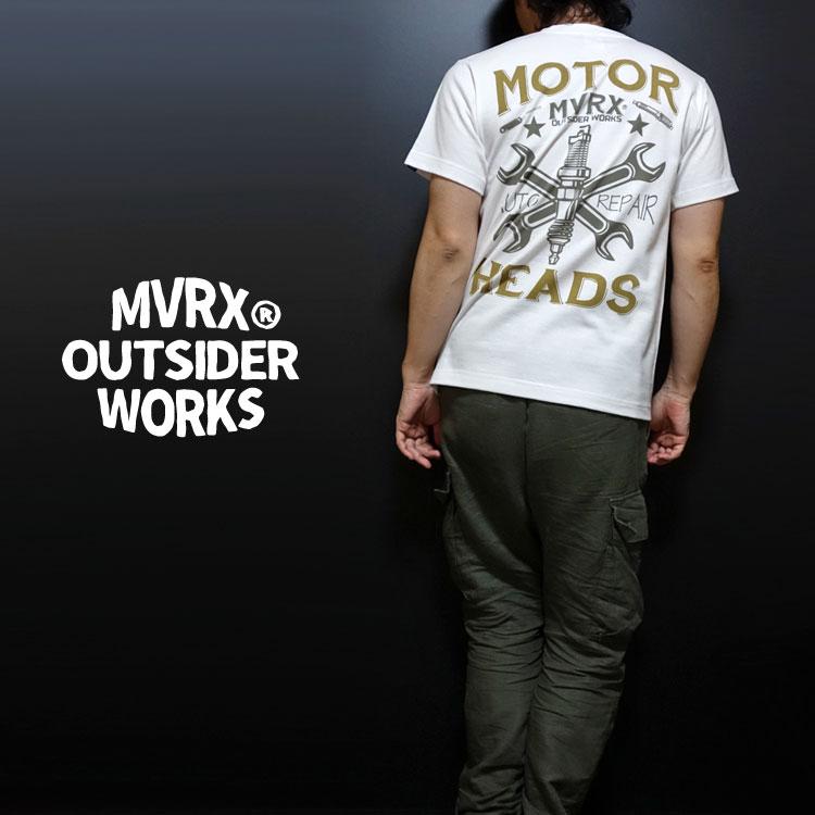 画像1: MVRX 半袖 Tシャツ MOTORHEADS モデル / 白 ホワイト バイク 車 プリント (1)