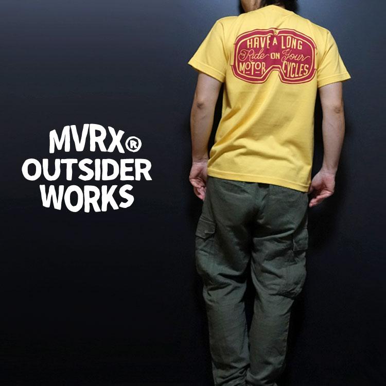 画像1: MVRX 半袖 Tシャツ  GOGGLE モデル / 黄 イエロー バイク ゴーグル プリント (1)