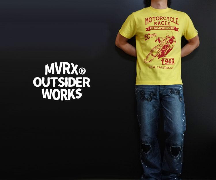 画像1: MVRX 半袖 Tシャツ MOTORCYCLE RACE モデル / 黄 イエロー バイク プリント (1)