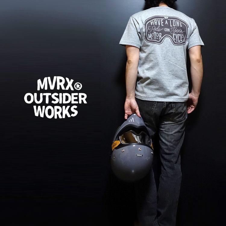 画像1: MVRX 半袖 ヘンリーネックTシャツ GOGGLE モデル / 杢グレー バイク ゴーグル プリント (1)