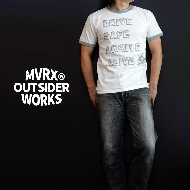 画像1: MVRX 半袖 リンガーTシャツ DRIVE SAFE モデル / 白 グレー バイク プリント (1)