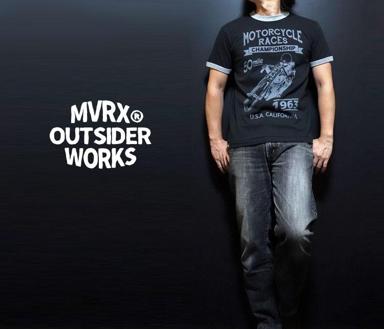 画像1: MVRX 半袖 リンガー Tシャツ MOTORCYCLE RACE モデル / スミ黒 ブラック グレー (1)
