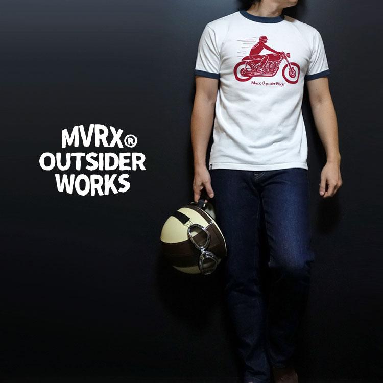 画像1: MVRX 半袖 リンガーTシャツ CAFE RACER モデル / 白 デニム バイク プリント (1)
