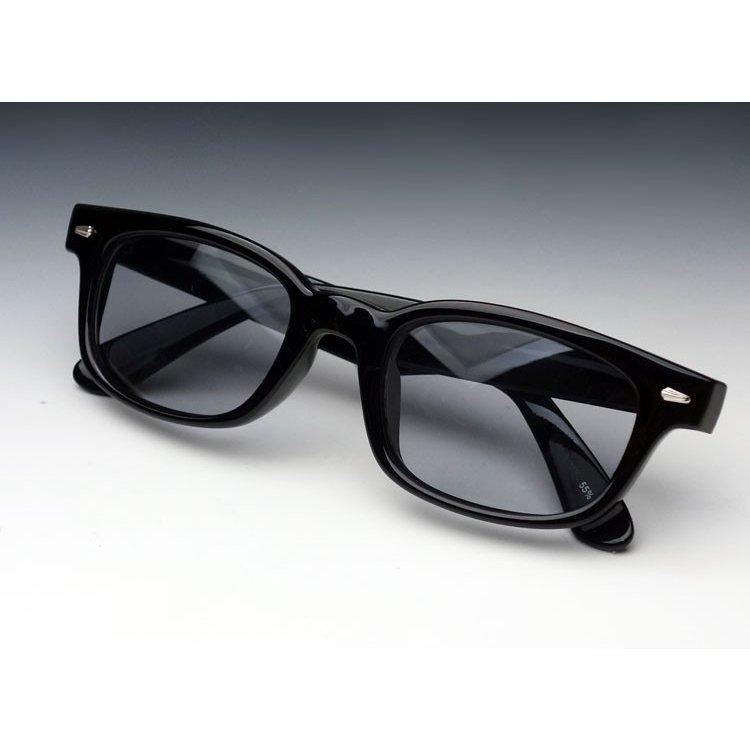 画像1: 送料無料 細デザイン ウェリントン型 サングラス メンズ 新品 / 黒 × ライトスモーク (1)