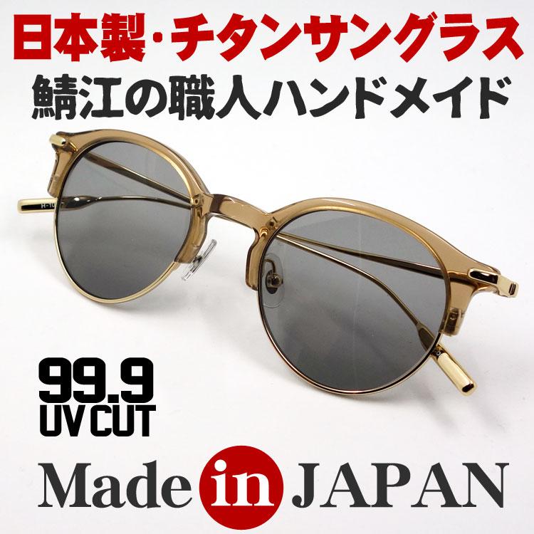 画像1: 日本製 サングラス チタニウム & セルフレーム 鯖江 職人 ハンドメイド サーモント ラウンド型 ブラウン スモーク (1)