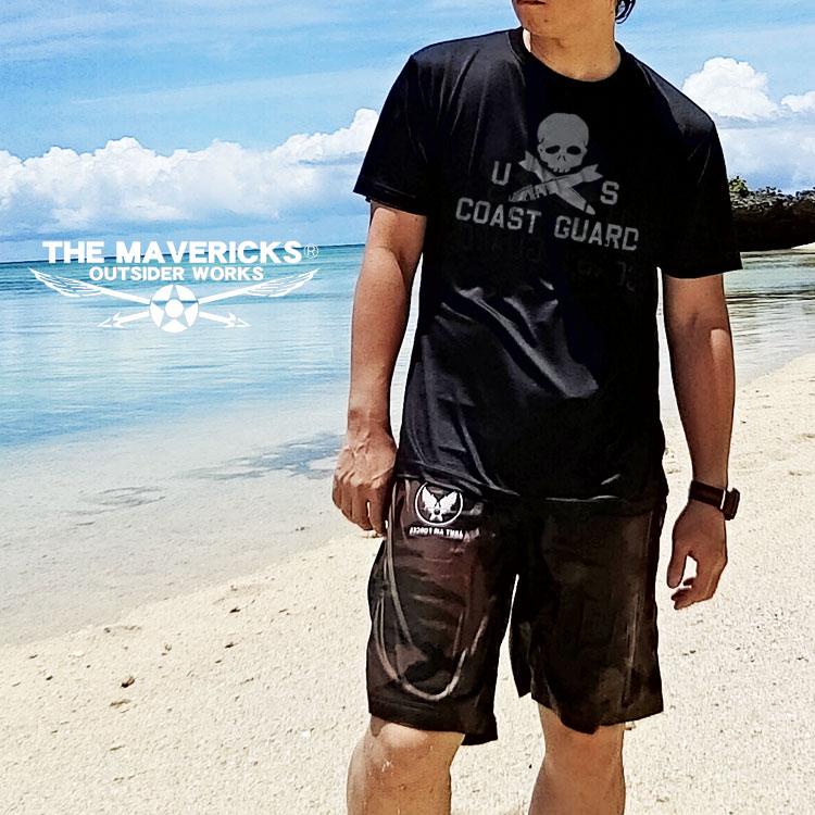 画像1: 水陸両用 ラッシュガード にも使える メンズ 半袖 ドライ Tシャツ U.S.CoastGuard アメリカ沿岸警備隊 スカル ミリタリー / 黒 ブラック (1)