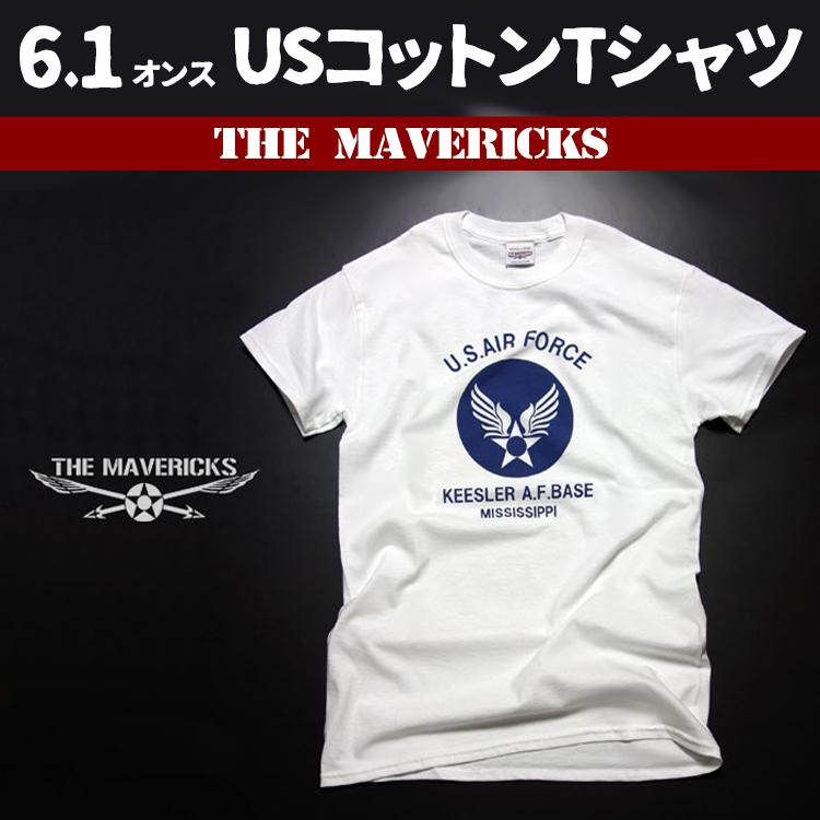 画像1: USAFエアフォース・「THE MAVERICKS」ミリタリーTシャツ・白×紺 (1)