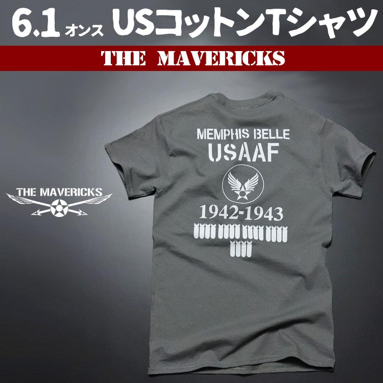 画像1: Tシャツ ミリタリー 爆弾エアフォース メンフィス ベル モデル THE MAVEVICKS ブランド/チャコールグレー (1)