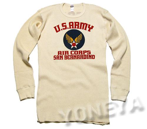 画像1: ミリタリー サーマル ワッフル 長袖Tシャツ USAAC アメリカ 陸軍航空隊 MAVEVICKS /  生成り ナチュラル (1)