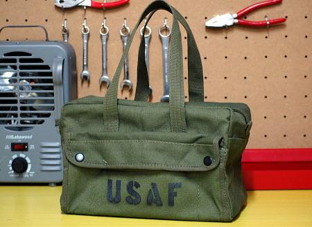 画像1: メカニック ツール バッグ メンズ USAF ロゴ 工具バッグ 工具箱 ROTHCO/ロスコ /オリーブ (1)